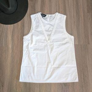 Rochas Paris White Cotton Sleeveless Blouse Small